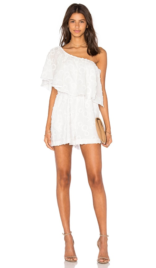 n / nicholas Spot Fringe One Shoulder Ruffle Romper in White