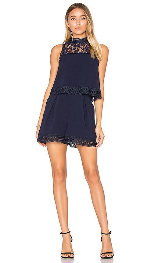 n / nicholas Double Layer Romper in Blue