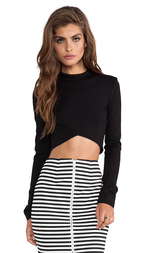 Ponti Long Sleeve V Crop Top