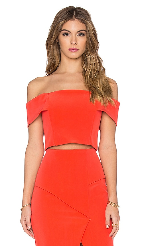NICHOLAS Technical Bonded Off Shoulder Crop Top in Coral