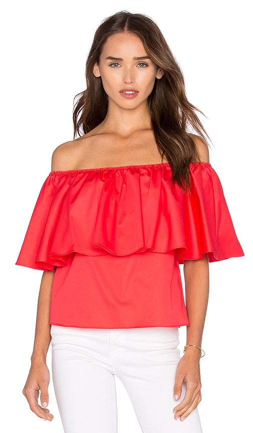 n / nicholas Off Shoulder Ruffle Top in Red