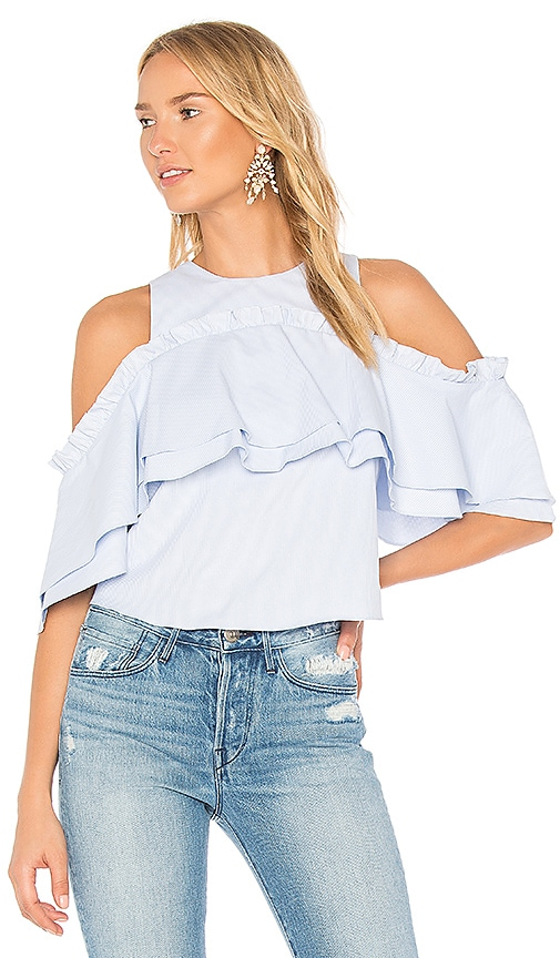 n / nicholas Elle Double Frill Top in Baby Blue