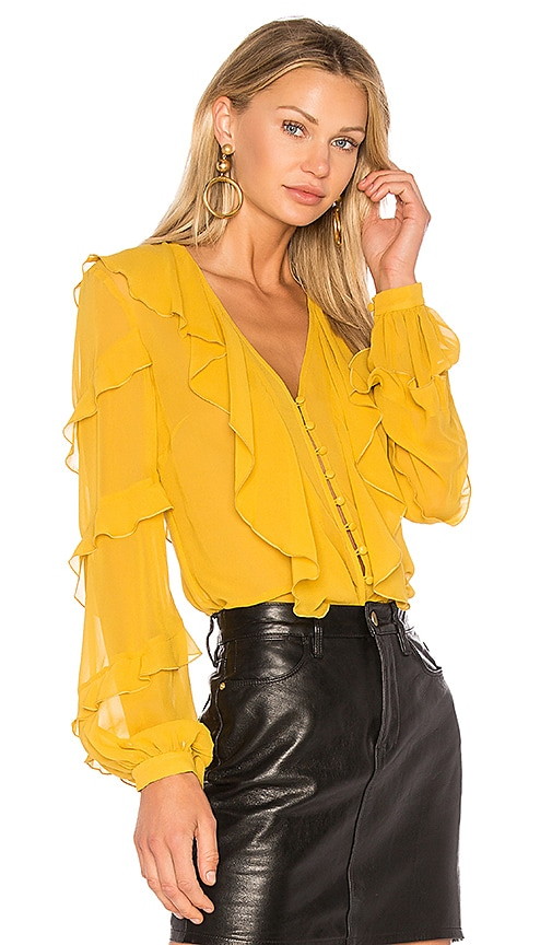 NICHOLAS Silk Neck Ruffle Blouse in Yellow