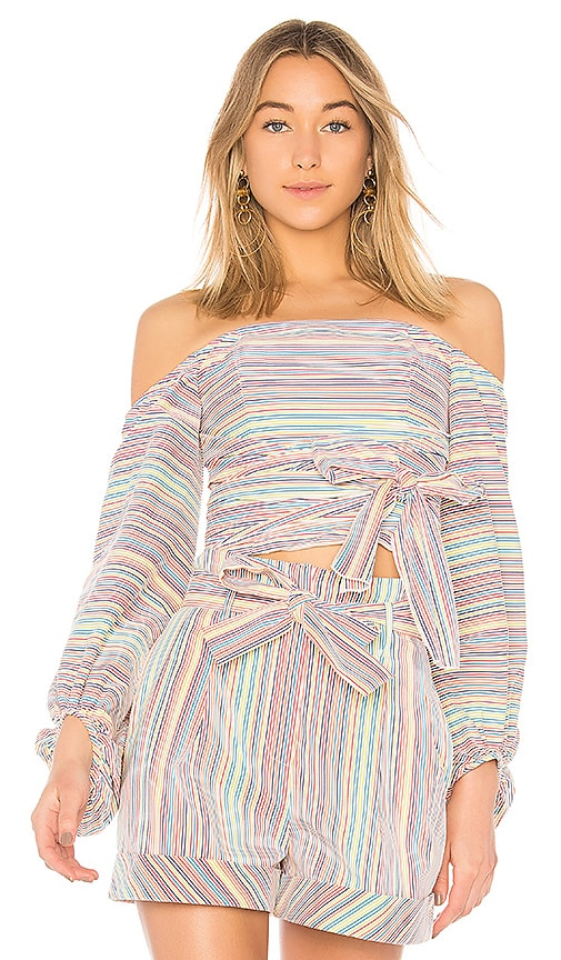 n / nicholas Rainbow Stripe Off Shoulder Wrap Top in Red