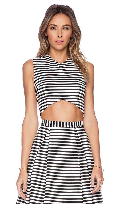 Stripe Ponti V Crop Top
