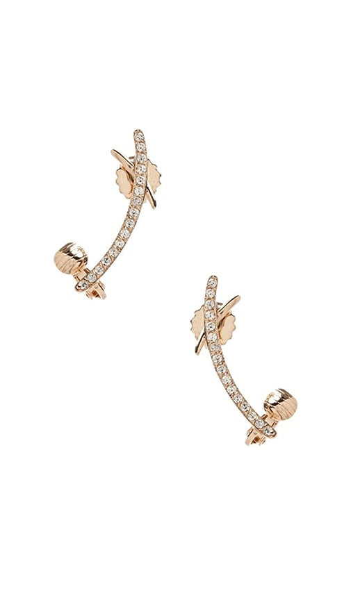 Nicole Meng Cross Curve Ear Cuff in Metallic Gold
