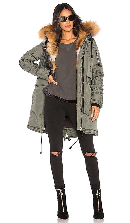Nicole Benisti Madison Fox Fur Lined Parka in Green