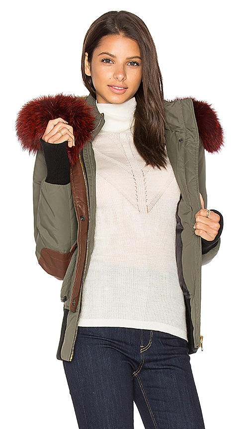 Nicole Benisti Fordham Silver Fox and Asiatic Rabbit Fur Lined Parka in Army