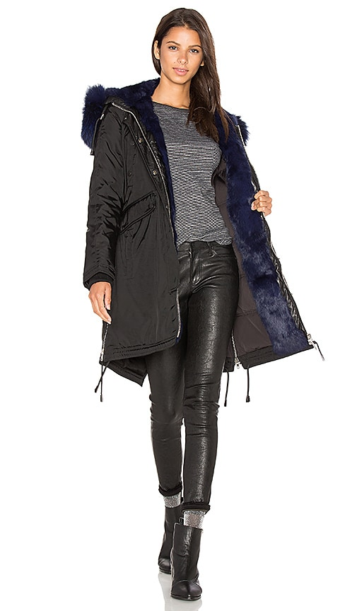 Nicole Benisti Brera Semi Silver Fox and Asiatic Rabbit Fur Lined Parka in Black