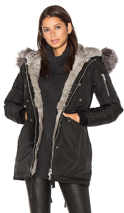 Nicole Benisti Melrose Asiatic Rabbit and Silver Fox Fur Jacket in Black