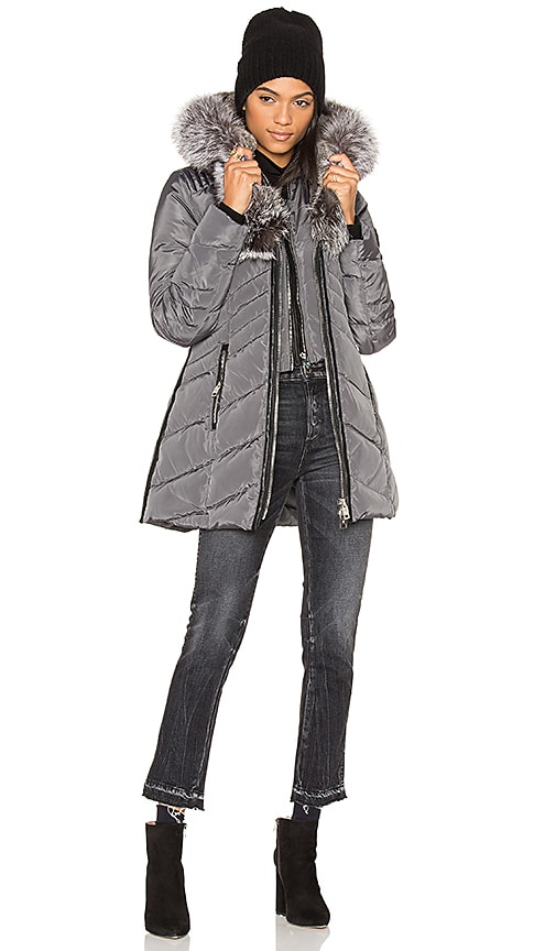 Nicole Benisti Telluride Jacket with Asiatic Silver Fox and Asiatic Rabbit Fur in Gray