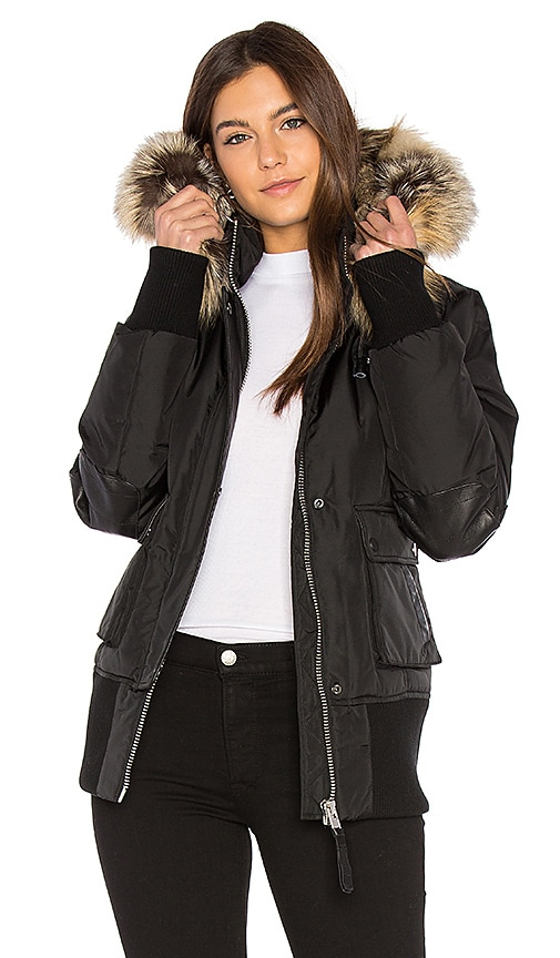 Nicole Benisti Fordham Bomber Down Jacket with Gold Fox and Asiatic Rabbit Fur in Black