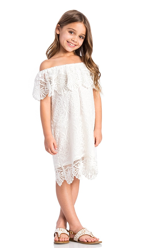 Nightcap Seashell Off Shoulder Dress in White