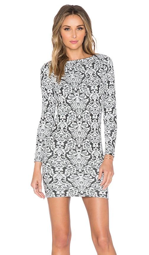 Nightcap Jacquard Mini Dress in Black & White