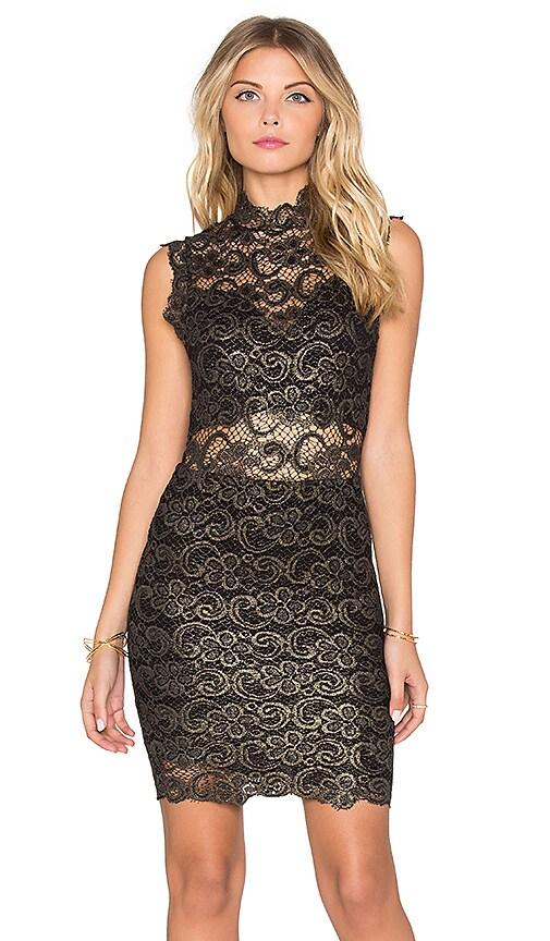 Nightcap Metallic Dixie Lace Dress in Gold