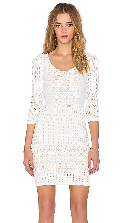 Nightcap Spiral Lace Scoop Dress in White