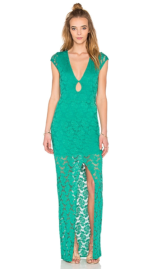 Nightcap Teardrop Lace Maxi Dress in Green