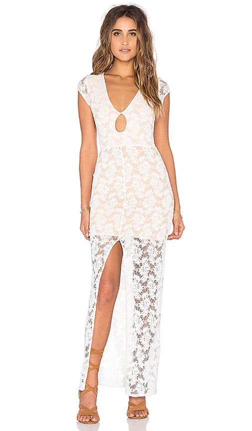 Nightcap Teardrop Lace Maxi Dress in White