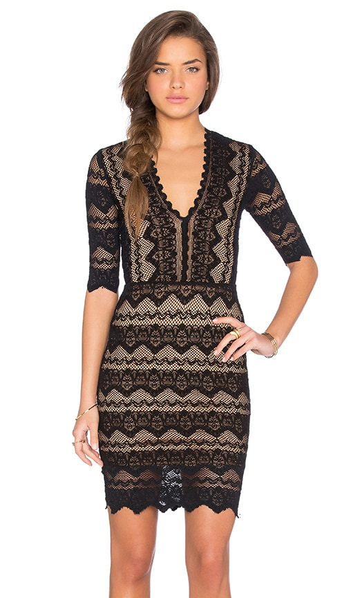 Sierra Lace 3/4 Sleeve Deep V Dress