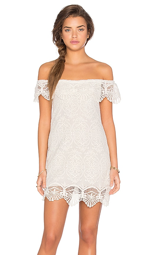 Nightcap Seashell Lace Off Shoulder Dress in White