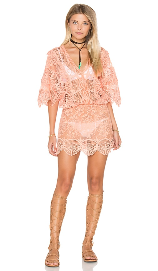 Nightcap Seashell Siren Mini Dress in Peach