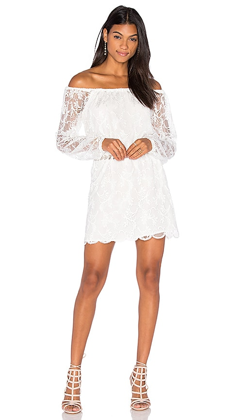 Nightcap Dentelle Off Shoulder Dress in White
