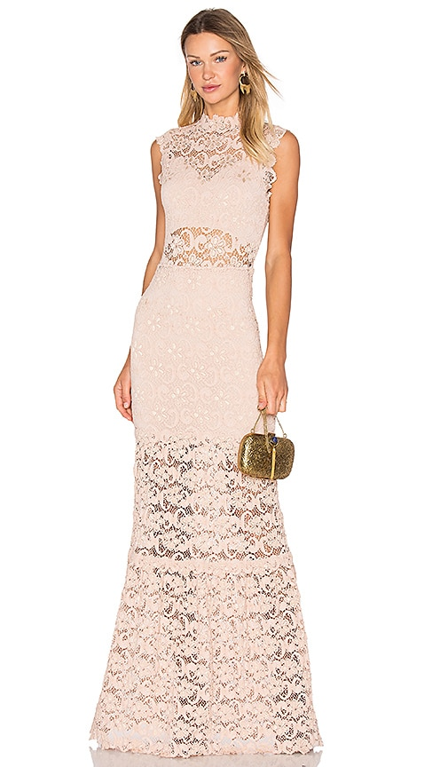 Nightcap Dixie Lace Cut Out Maxi Dress in Blush