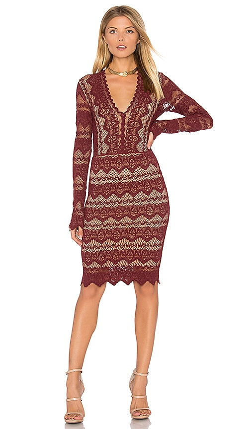 Nightcap Sierra Lace Deep V Dress in Red