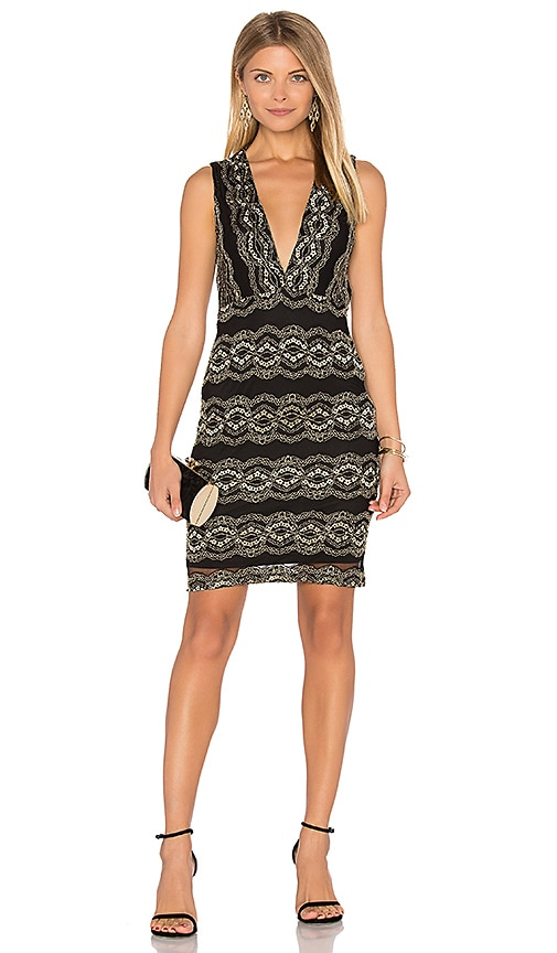 Nightcap Moroccan Lace Mini Dress in Metallic Gold