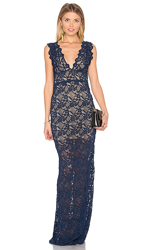 Nightcap Perfect Plunge Maxi Dress in Blue