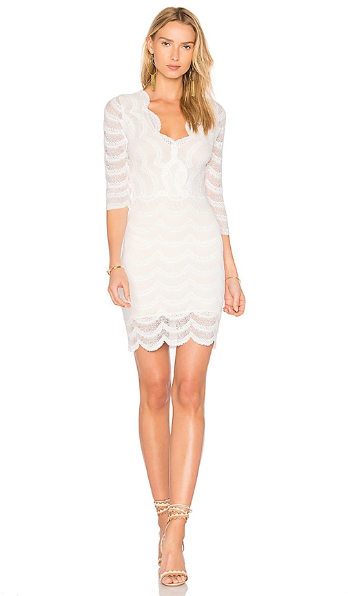 Nightcap Fiesta Deep V Dress in White