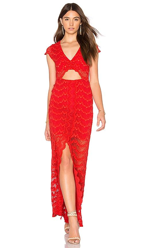 Nightcap Mariposa Cutout Maxi Dress in Red