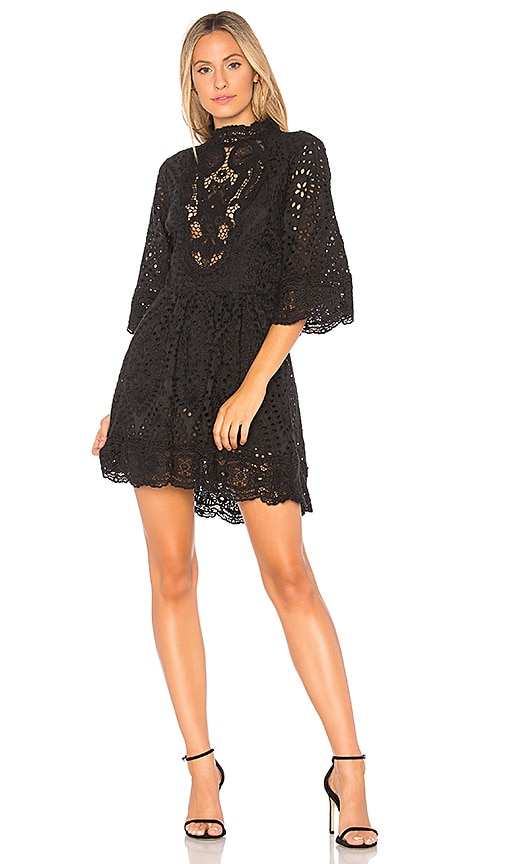 Nightcap Victorian Embroidered Mini Dress in Black