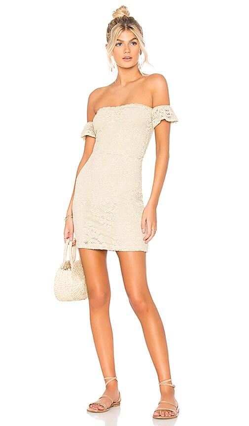 Nightcap Crochet Flutter Dress in Tan