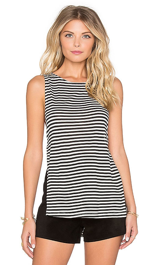Nightcap Silk Stripe Side Knot Tank in Black