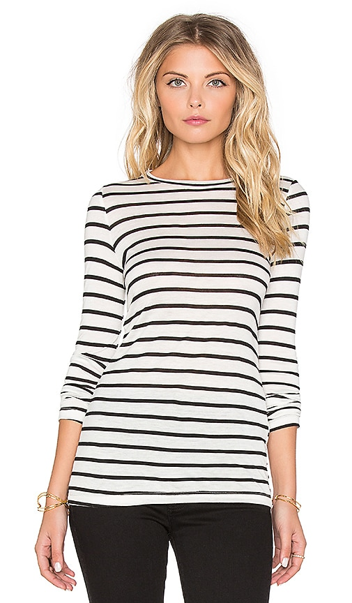 Nightcap Silk Stripe Long Sleeve Tee in Black
