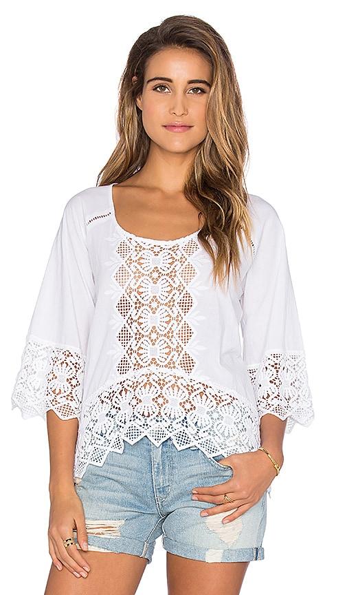 Nightcap Lace Raglan Blouse in White