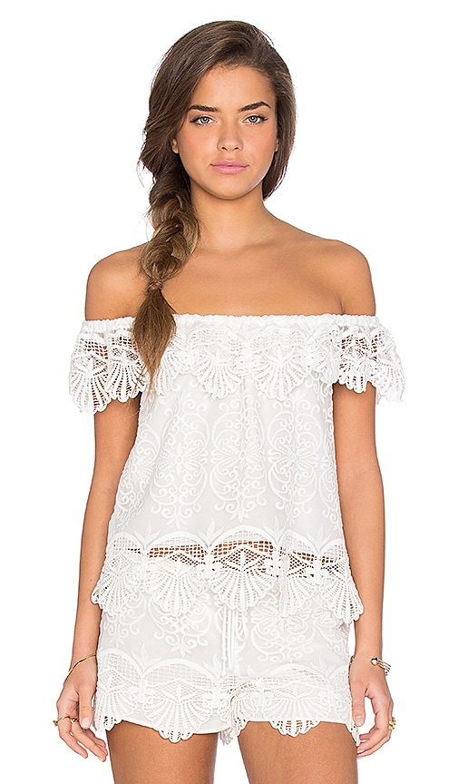 Nightcap Seashell Off Shoulder Blouse in White