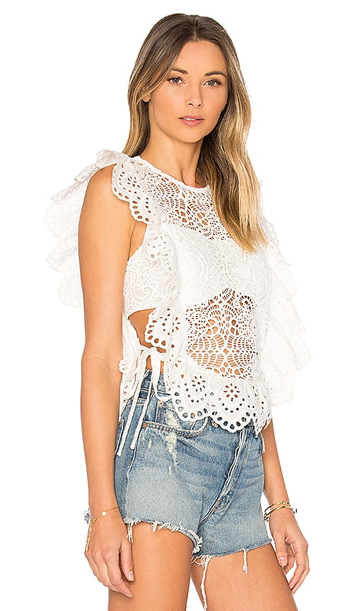 Nightcap Eyelet Apron Top in White