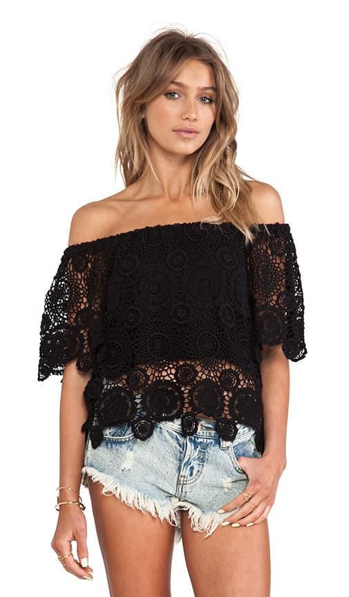 8b7a20ad607 Nightcap Carmen Crochet Top in Black   REVOLVE