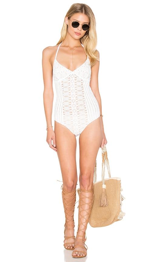 Nightcap Spiral Lace One Piece Swimsuit in Ecru
