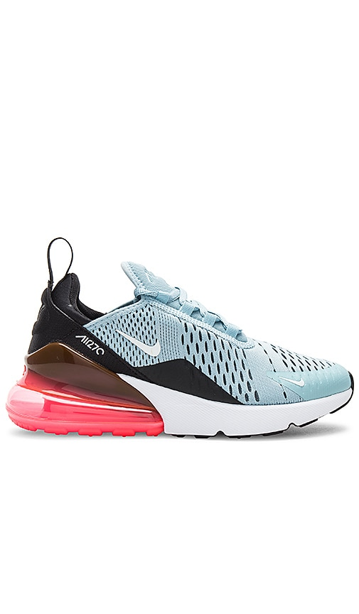 Nike Air Max 270 in Ocean Blue, White, Black & Hot Punch from