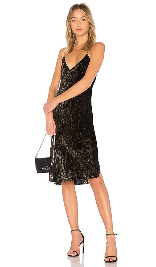 NILI LOTAN Short Cami Dress in Metallic Gold