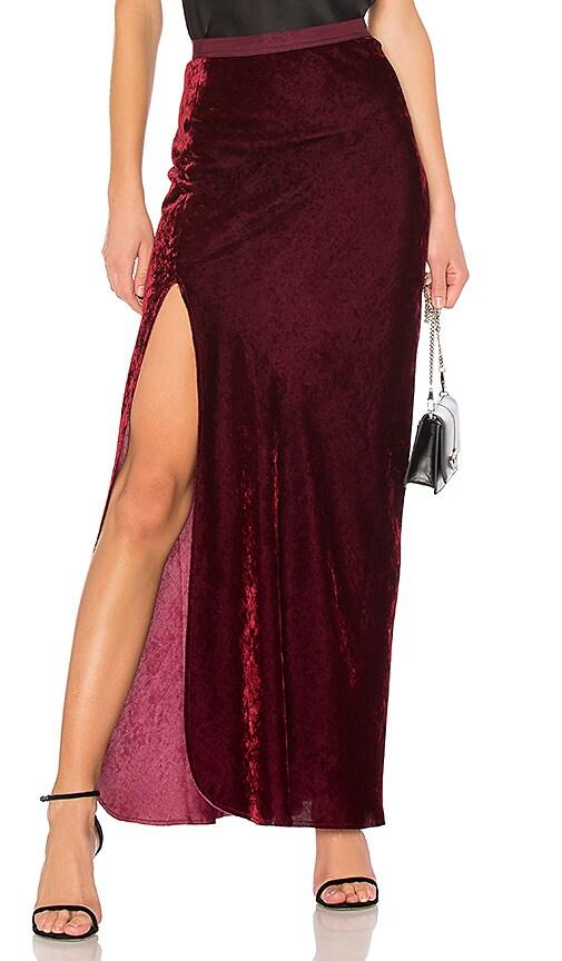 NILI LOTAN Maya Maxi Skirt in Burgundy