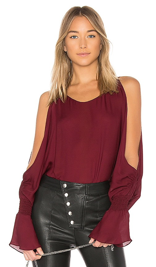 NILI LOTAN Devon Blouse in Burgundy