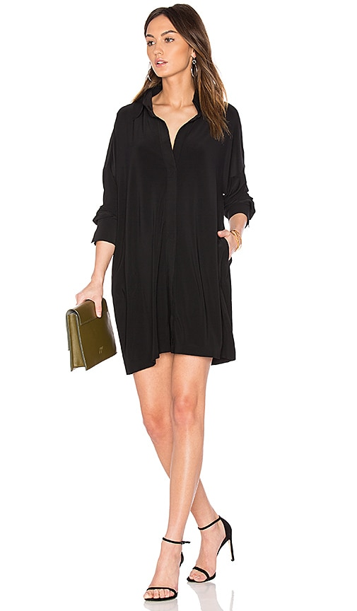 Norma Kamali NK Box Shirt Dress in Black