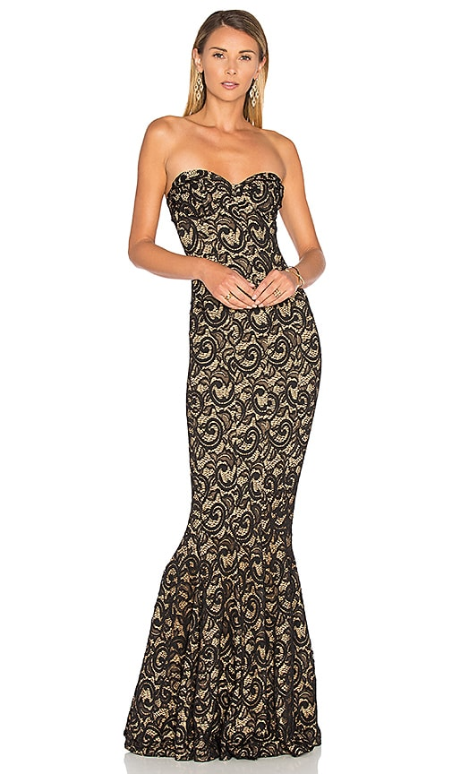 Norma Kamali Corset Gown in Black Lace   REVOLVE