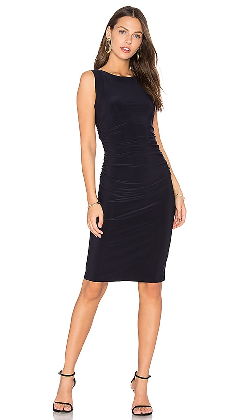Norma Kamali Sleeveless Shirred Waist Dress in Blue