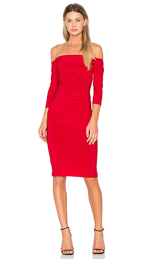 Norma Kamali Off Shoulder Shirred Dress in Red
