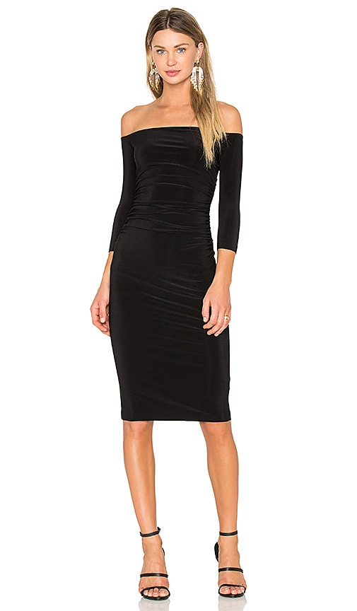 Norma Kamali Off Shoulder Shirred Dress in Black